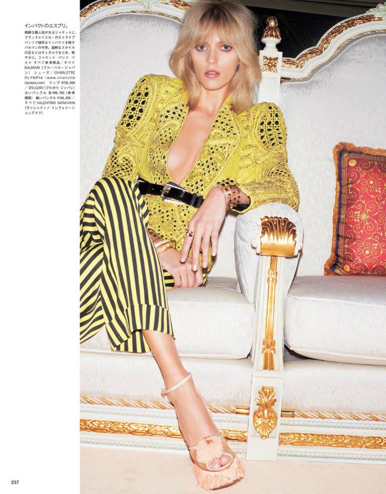 anja vogue Japan2 Anja Rubik är 70s Glam för Vogue Japan juni 2013 av Katja Rahwles