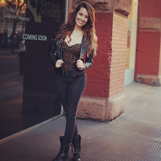 Urban Outfitters Leather Moto Jacket, Steve Madden Moto Boots & Nasty Gal Animal Print Bodysuit