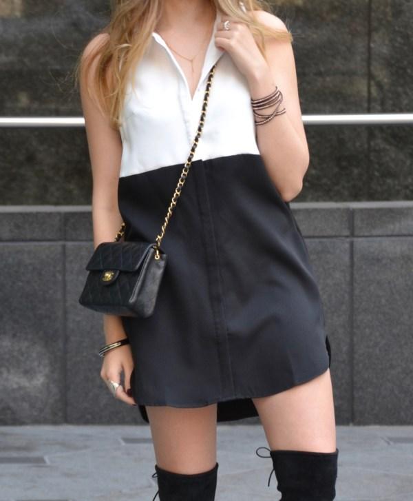 little shirtdress & Chanel flap bag