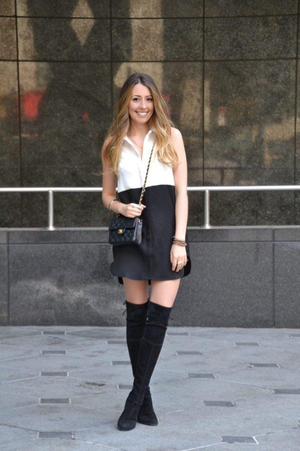 Little shirtdress & over the knee boots