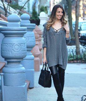 #UnderwearAsOuterwear in Big Sweaters & Leather Pants