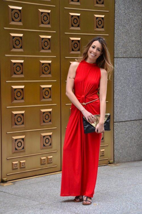 GCGM Cute Red Formal Maxi Dress