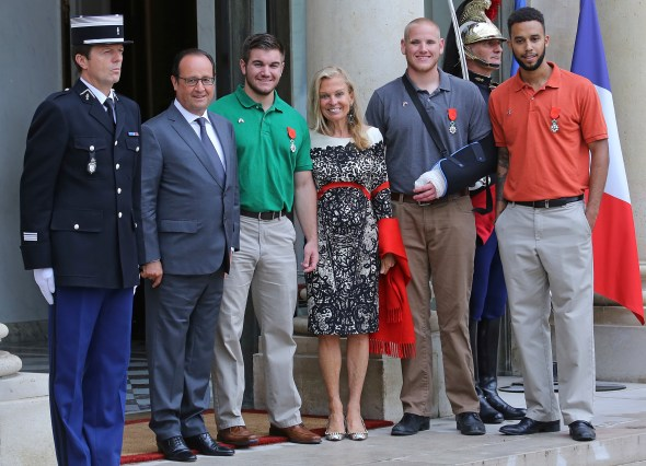 Francois Hollande, Alek Skarlatos, Jane Hartley, Spencer Stone and Anthony Sadler - French President, Francois Hollande receives US-France Ambassador, Jane Hartley and honorees attend a reception at Elysee Palace on August 24, 2015 in Paris, France. Spencer Stone, Anthony Sadler, Alek Skarlatos and Chris Norman are being awarded the Legion d'Honneur after overpowering the gunman, 25-year-old Moroccan, Ayoub El-Khazzani, on board a high-speed train after he opened fire on a Thalys train travelling from Amsterdam to Paris. El-Khazzani, who had a Kalashnikov, an automatic pistol and a box cutter, was arrested when the train stopped at the French town of Arras./picture alliance Photo by: Gisele Tellier/Geisler-Fotopress/picture-alliance/dpa/AP Images
