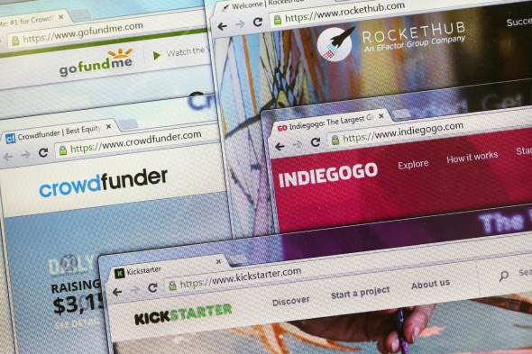 Websites (homepages) of five leading crowdfunding platforms in the world - Kickstarter, IndieGoGo, RocketHub, Crowdfunder and GoFundMe on a computer screen.