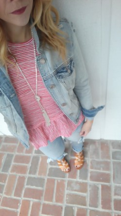 Paired my denim jacket @americaneagle over a cute peplum top @oldnavy with distressed jeans
