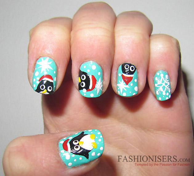 New Year S Eve Nail Art Designs Penguin Nails