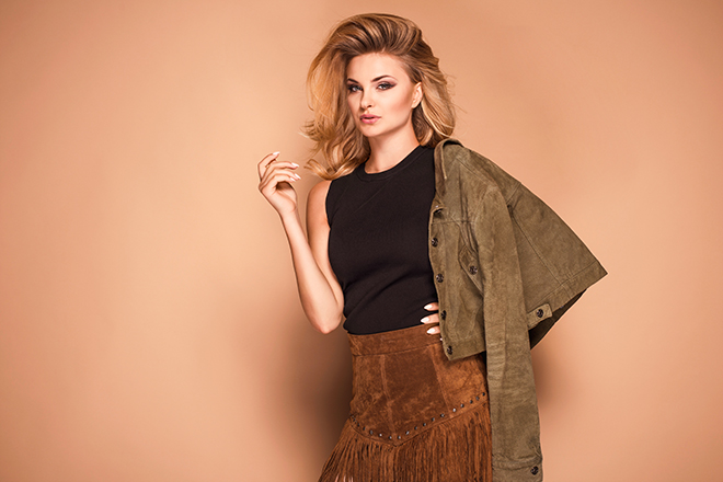 woman-in-trendy-suede-skirt