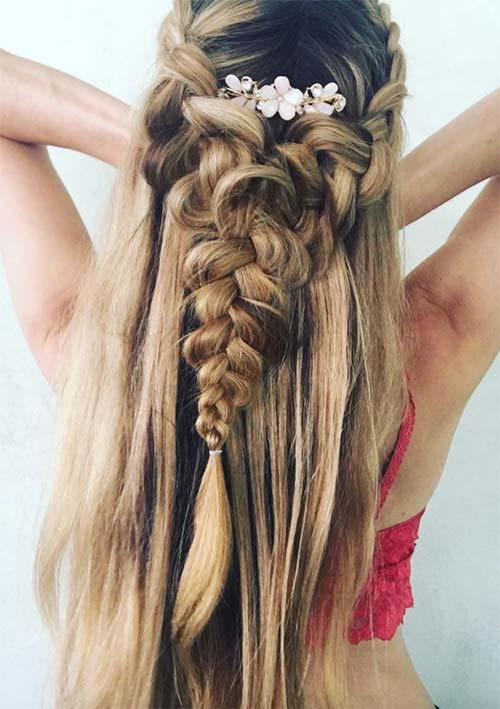 100 Ridiculously Awesome Braided Hairstyles: Half-Up French Braids