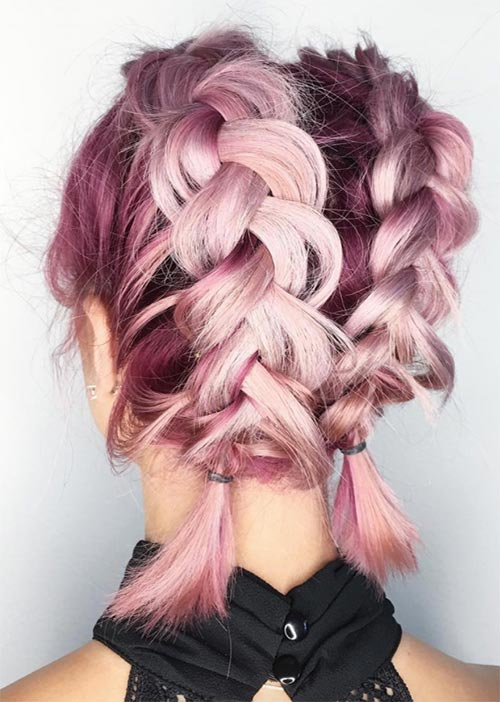 Pretty Holiday Hairstyles Ideas: Double Dutch Braids for Short Hair