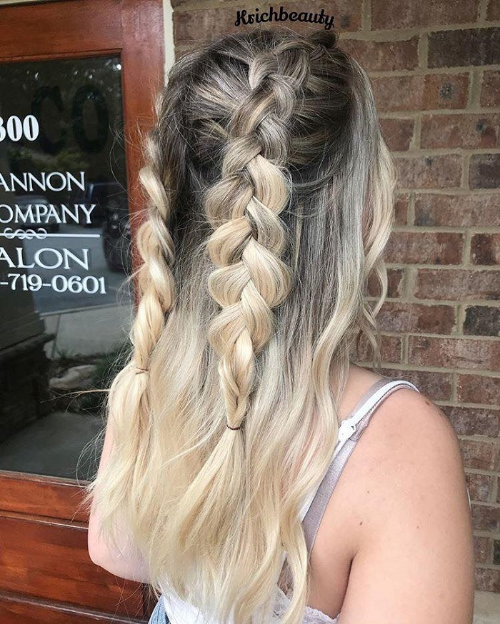 Effortlessly Cool Half-Up Dos Ideal for Hot Days half up double braids