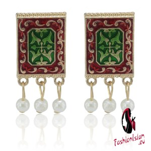 Bollywood Oxidized Jewellery Earrings Ethnic Gold Afghan Tassel Pearl Drop Flower Arab Jhumka Indian Earrings Wedding Jewelry