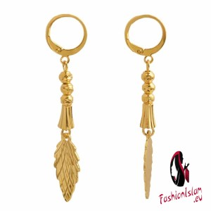 Gold Color Tree Leaf ang Beads Charm Earrings Women Girl African Jewelry Middle East Arab Trendy Jewellery Plant Earring Gifts