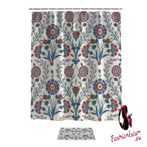 Traditional Arabic Flower Pattern Beautiful And Islamic Bathroom Accessory Sets 2 Piece Bathroom Set Shower Curtain Sets Inside
