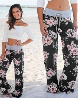 Pink Flower Floral Harem Pants