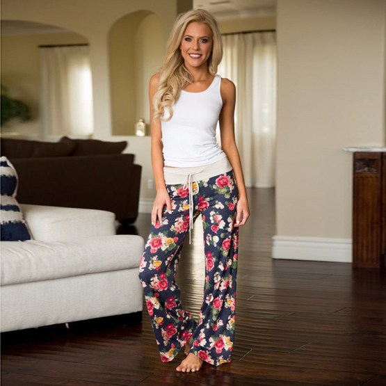 Boho Floral Print Baggy Flare Pants