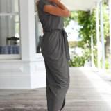 Short Sleeve Dresses O-neck Tunic Summer Beach