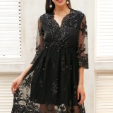 Sequin Party Dress V Neck Long Sleeve Streetwear
