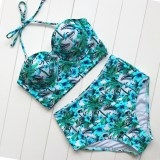 Floral Print High Waist Swimsuit Bikini Push Up