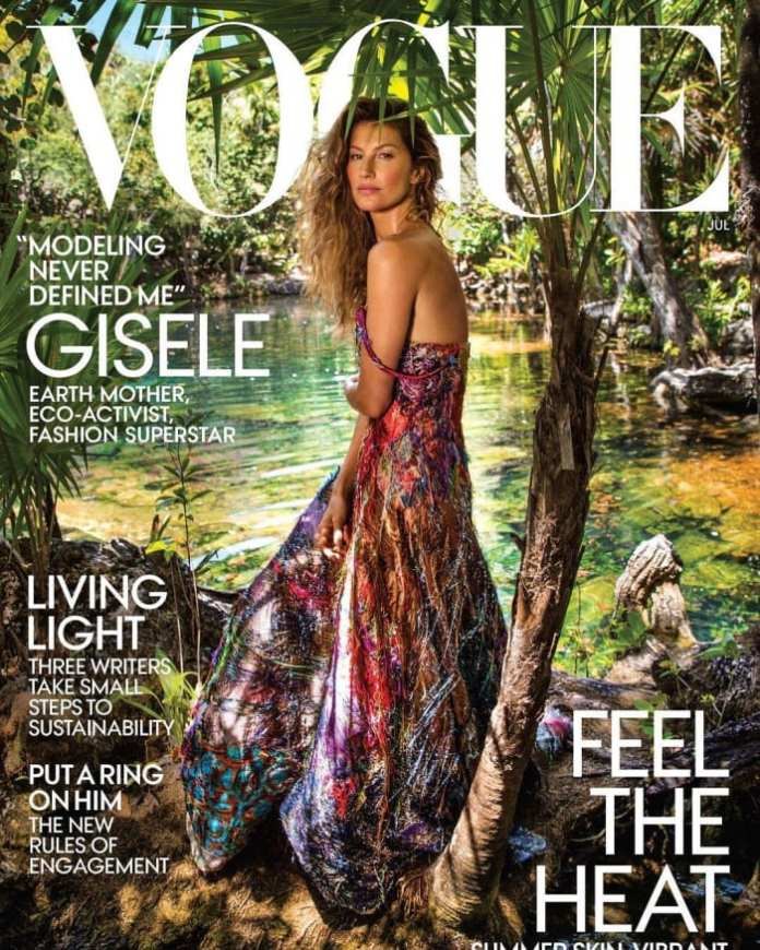 """Gisele Bündchen on the July cover of """"Vogue."""" Photo: Inez and Vindoodh"""