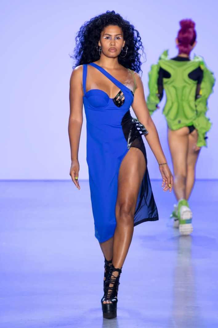Bloom walking the Chromat runway during New York Fashion Week.