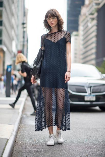 Adding a sheer top on top is cute for ways to wear slip dresses!