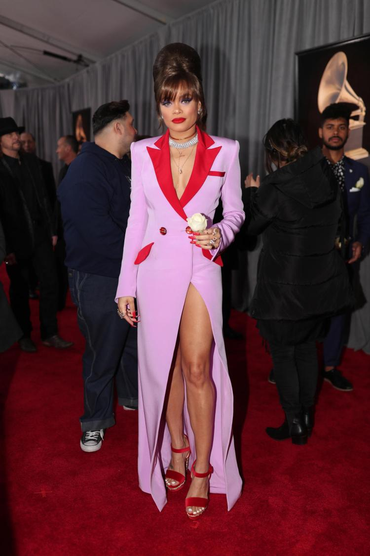 Andra Day in custom Victoria Hayes Collection - Red Carpet Grammy Award 2018