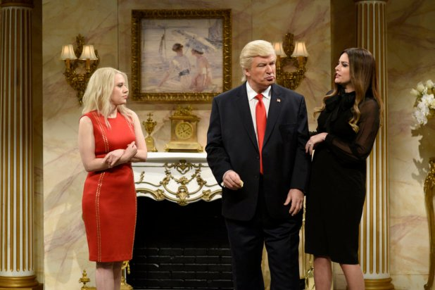 """Kate McKinnon as Kellyanne Conway, Baldwin as Trump and Cecily Strong as Melania Trump on the April 8, 2017 episode of """"Saturday Night Live."""" Photo: Will Heath/NBC"""