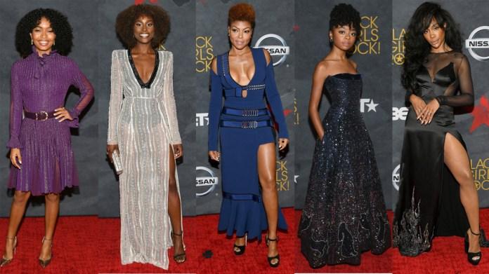 From left: Yara Shahidi, Issa Rae, Taraji P. Henson, Skai Jackson and SZA on the 2017 Black Girls Rock red carpet. Photos: Dia Dipasupil/Getty Images