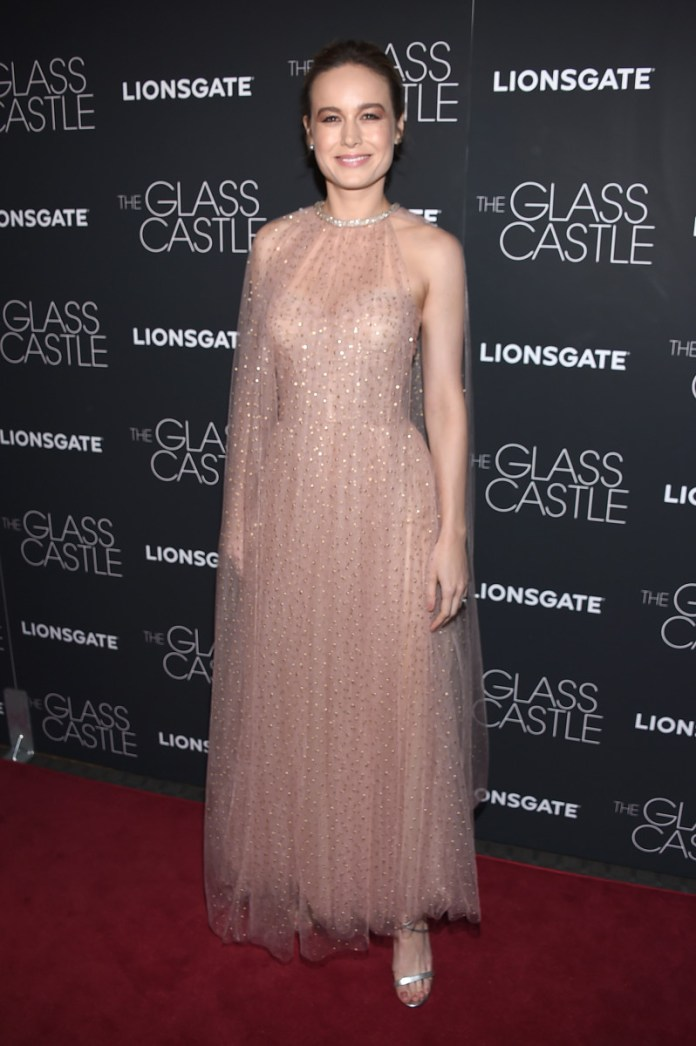 """Brie Larson in Monique Lhuillier at """"The Glass Castle""""'s New York screening. Photo: Dimitrios Kambouris/Getty Images"""