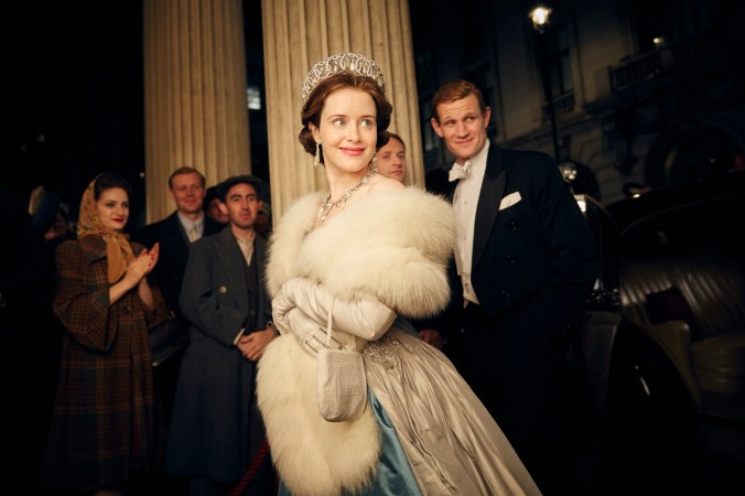 Elizabeth (Claire Foy) and Philip (Matt Smith) smile for a paparazzi moment. Photo: Netflix