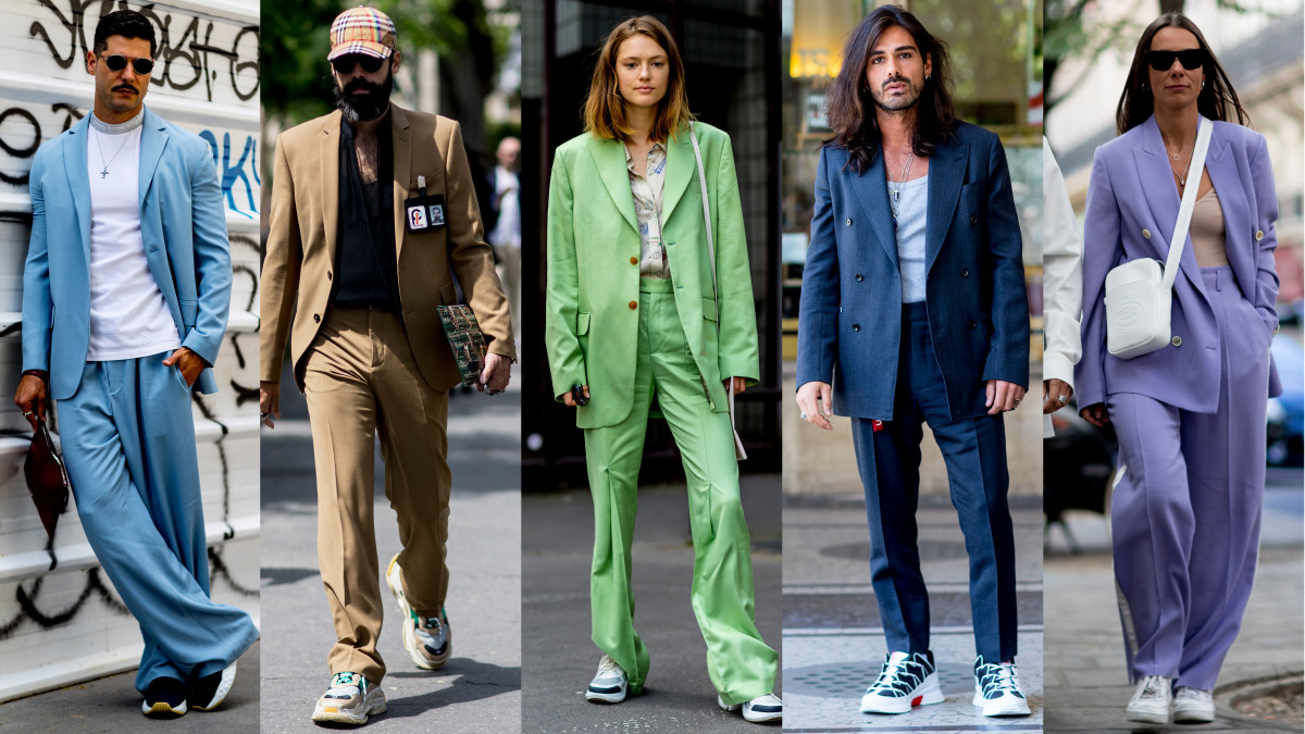 Suits with sneakers. Photos: Imaxtree