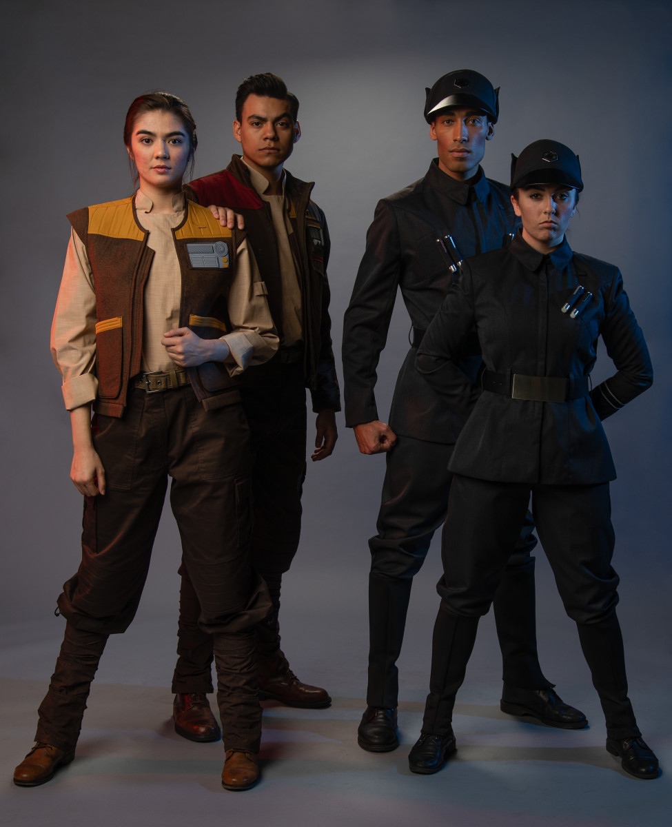 """Star Wars: Galaxy's Edge"" costumes, including the Resistance (left) and First Order (right). Photo: Courtesy of Disneyland"