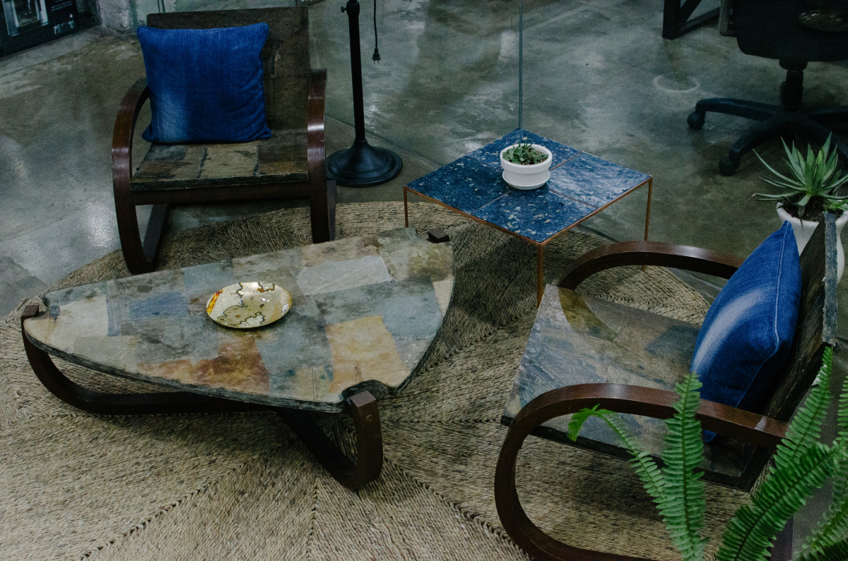 All the furniture pictured was made using tiles created from old denim and textile waste. Photo: Whitney Bauck/Fashionista
