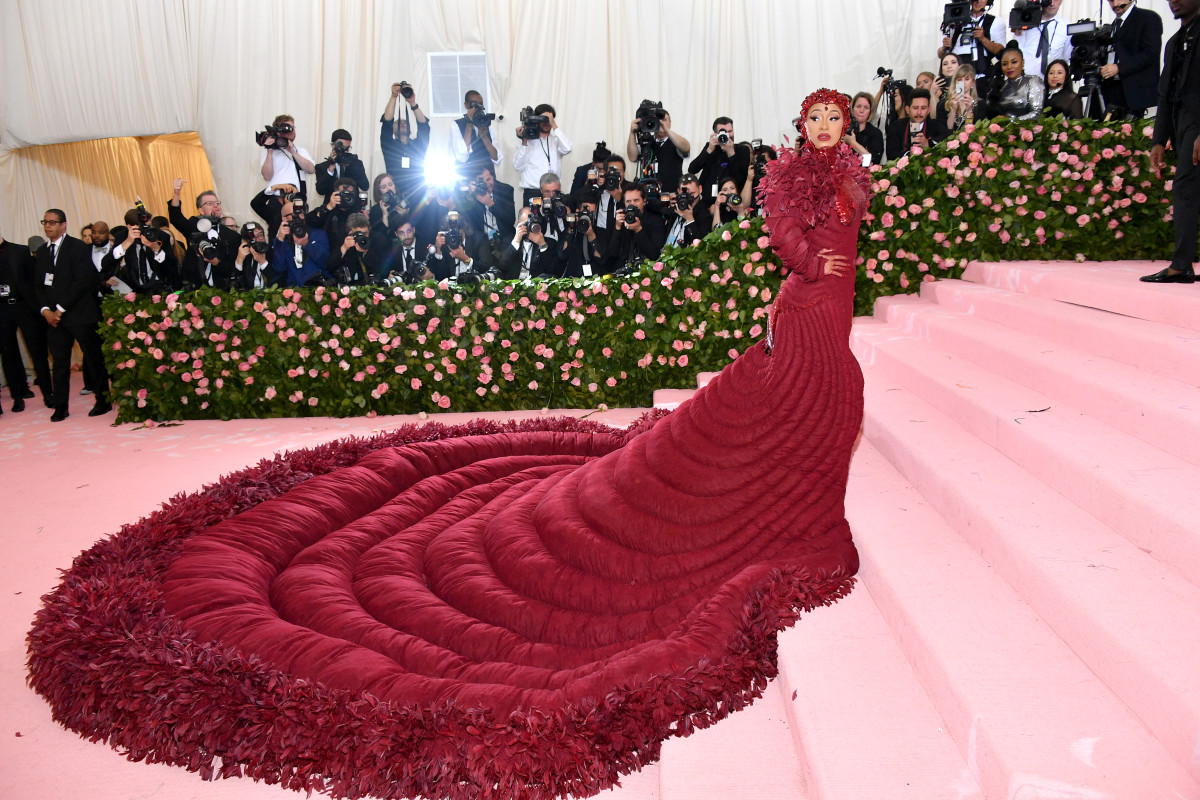 """Cardi B in Thom Browne at the 2019 """"Camp: Notes on Fashion"""" Met Gala."""