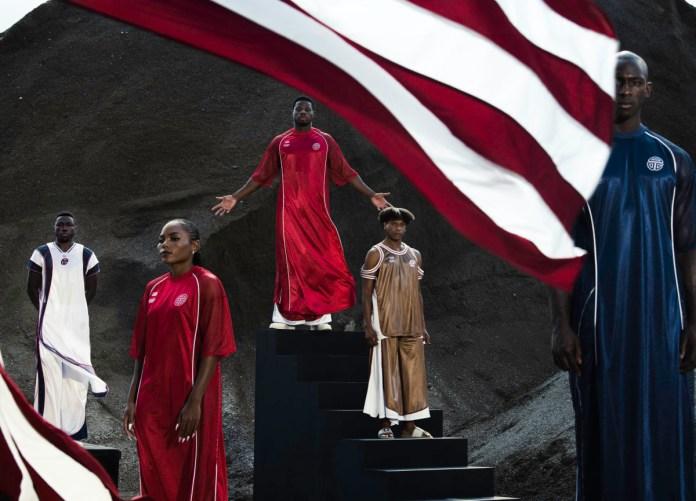 telfar olympics from left to right joseph fahnbulleh olympian ebony morrison olympian emmanuel matadee olympian telfar clemens designer mohammed stand in model