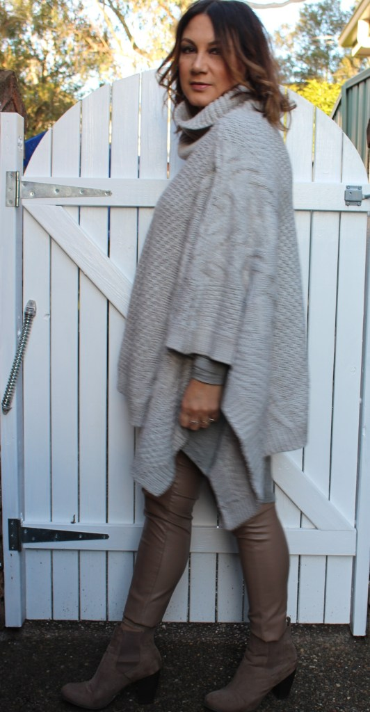 Mini and Mone Grey knit poncho and taupe pleather
