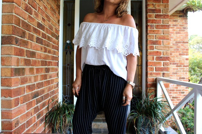 What I wore today - Off the Shoulder and pinstripes