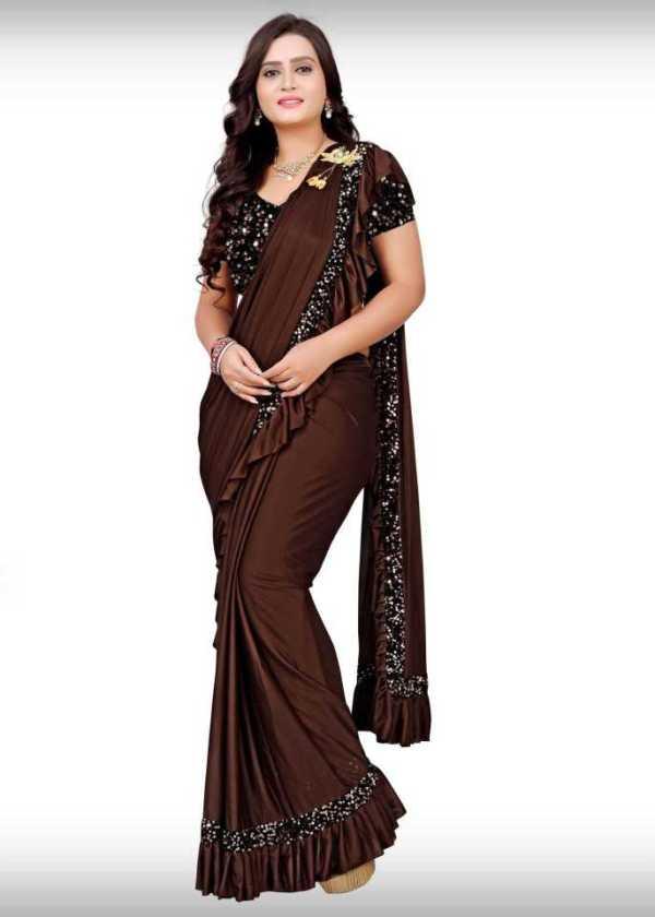 Embellished Bollywood Lycra Blend Saree brown