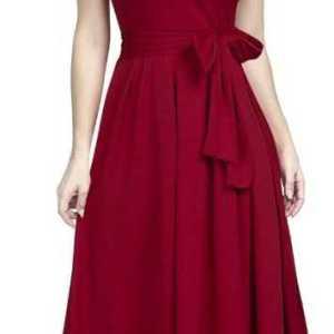 Women Drop Waist Maroon Dress