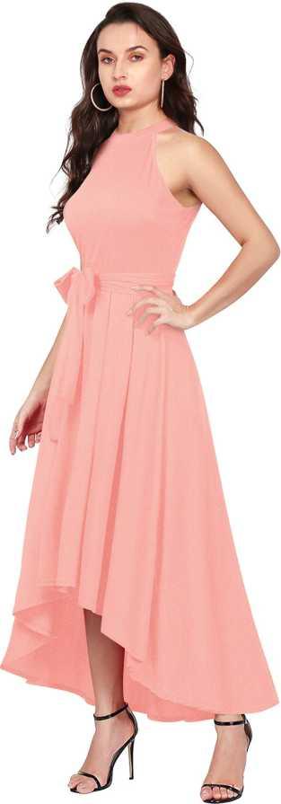 Women Drop Waist Peach Dress