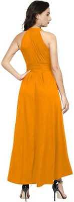 Women Drop Waist Yellow Dress 2