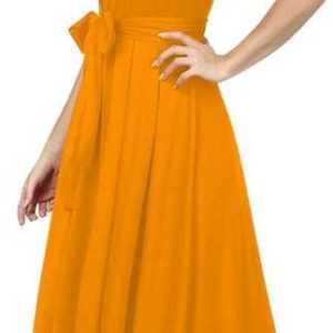 Women Drop Waist Yellow Dress