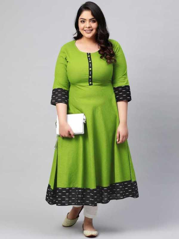 Women Green Printed Cotton Blend Anarkali Kurta 5