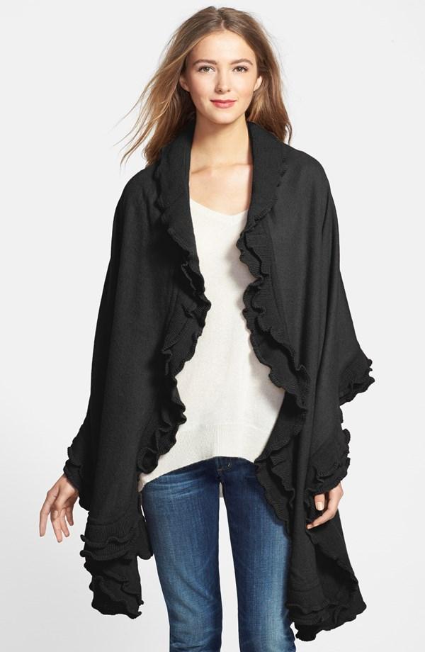 Black Wool Ruffle Wrap