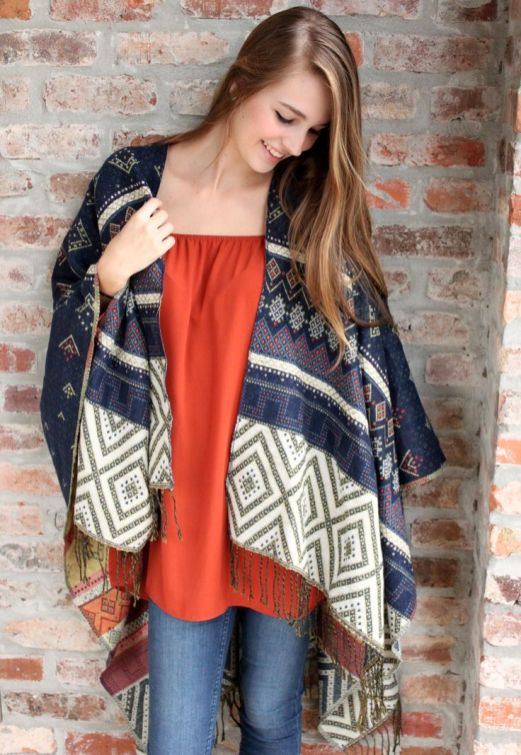 Milly Navy Printed Poncho