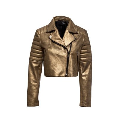 Currently Coveting: Gold Leather Cropped Moto By Hektor