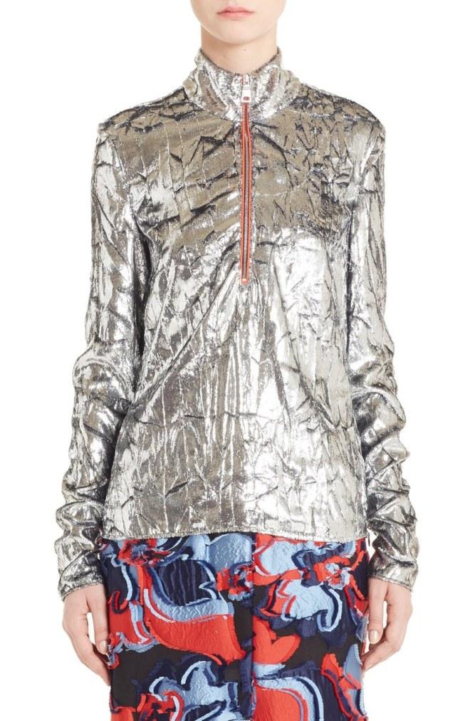 Crumpled Velvet Zip Pullover