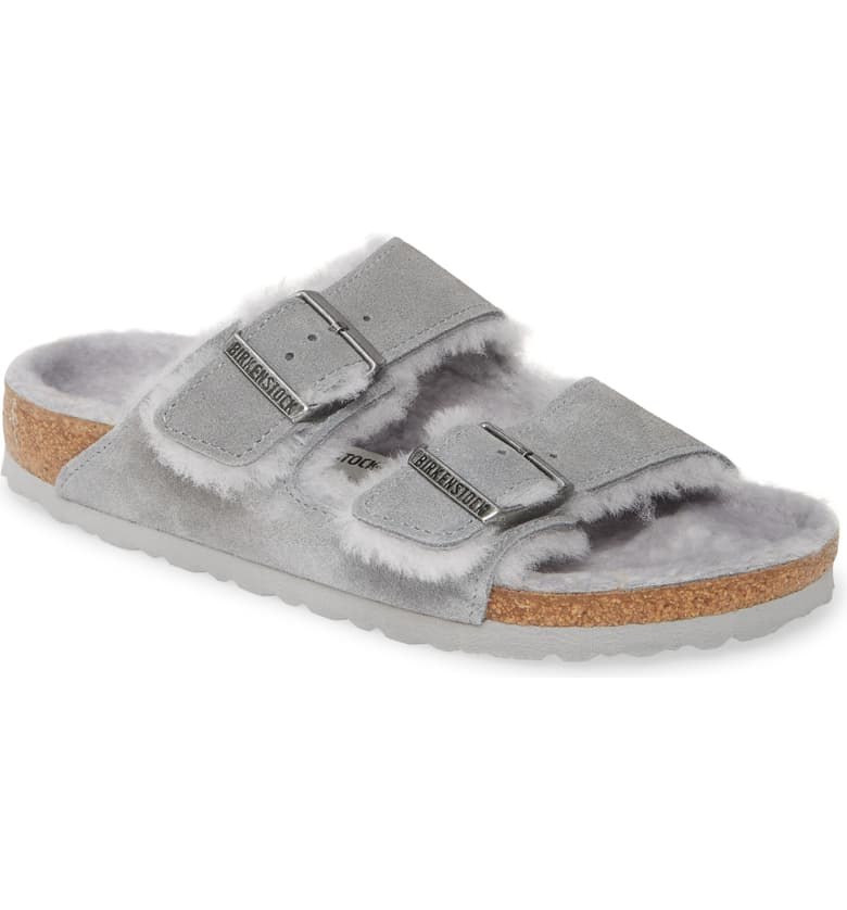 Birkenstock Arizona Genuine Shearling Slide Sandal