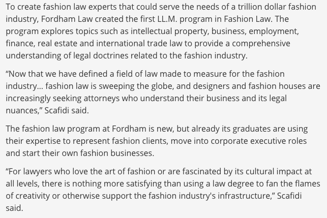 Excerpt in which Professor Scafidi discusses value of Fashion Law LLM