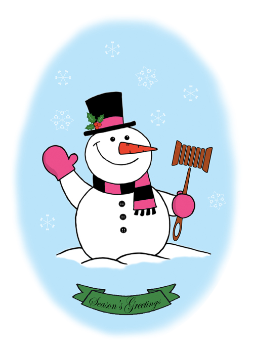 2018 Holiday Greeting - snowman holding Fashion Law Institute gavel logo composed of needle handle attached to spool of thread